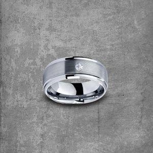 Diamond Wedding Band: Tungsten Ring| Mens Wedding